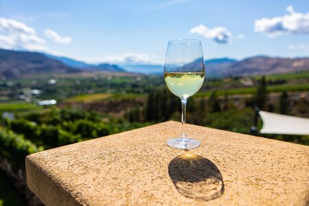 A Canadian glass of white wine on building top selective focus view against vineyard background, Okanagan Valley, British Columbia, Canada Stock fotó