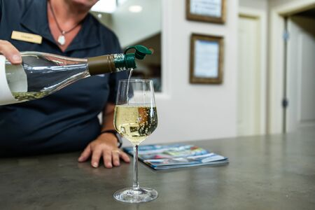 female bartender woman pouring white wine from transparent bottle to a wineglass, hand selective focus, with a magazine on bar counter, copy space