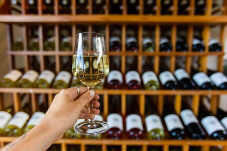 hand holding a glass of white wine selective focus view, tasting room wines bottles display on wooden racks shelves background, wine shop interior