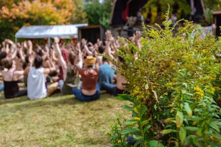 A close up shot of green flora with a shallow depth of field, and blurry background of people taking part in group meditation at multicultural festival Archivio Fotografico