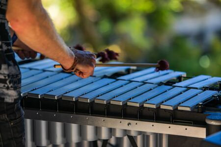 A close up and rear view of a folk musician playing a vibraphone on stage at a multicultural festival celebrating acoustic sounds and culture, shallow focus