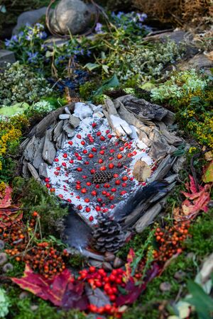 A close up shot of a whimsical colorful handmade decoration of flora and foliage in a forest. Red berries, leaves and flowers decorate manmade nest