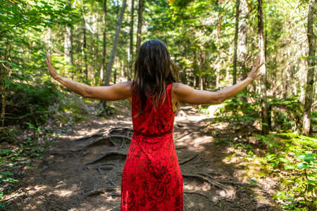 View from behind of a young woman in a red dress in the middle of the woods, with her arms wide open to collect the trees energies. Ritual dance.