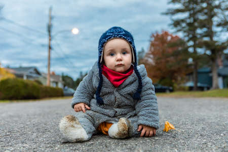 Portrait of cute and curious sitting wearing winter clothes, with ear cap and muffler on clean street lane in autumn park while looking at camera