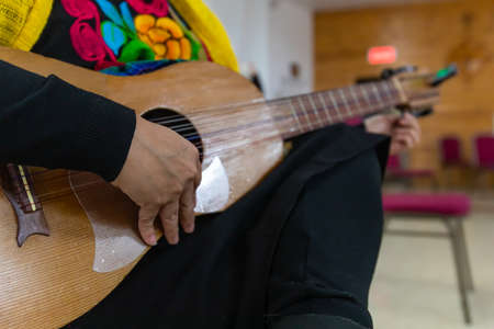 Selective focus of male hands in traditional attire during dia de los muertos, also known as, day of the dead, playing music on 10 strings guitar during ceremony 写真素材