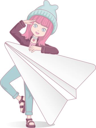 Anime manga girl with paper plane. Cartoon character in Japanese style. Messenger.