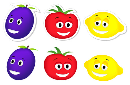 Characters of a tomato, plum and lemon Illustration