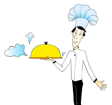 Cartoon illustration of chef holding covered dishes