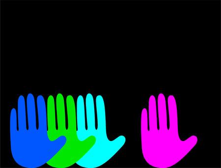 Color hands on black background