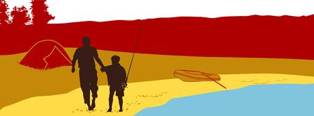 seacoast: The father and the son walk on seacoast Illustration