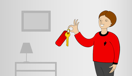 The happy buyer has control over a flat key or houses Vector