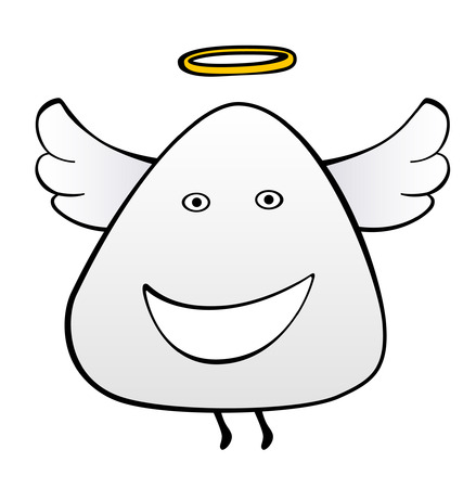 nimbus: The happy angel flies in the sky with a nimbus over a head