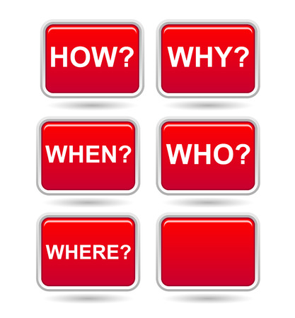 button with question how, why, who, when, where