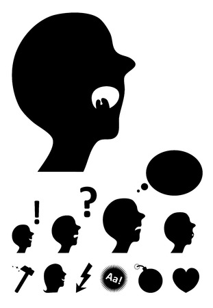 Vector Comic silhouette man and objects Stock Vector - 5444624