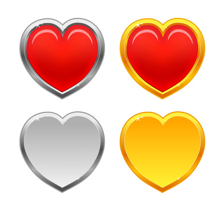red, gold and silver heart Stock Vector - 6254645