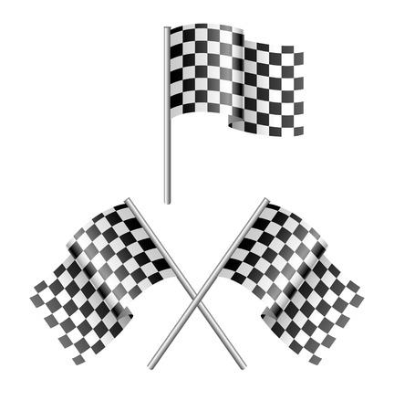 formula one racing: black and white checkered flag Illustration