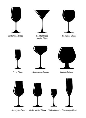 glass of red wine: set of black silhouette glasses