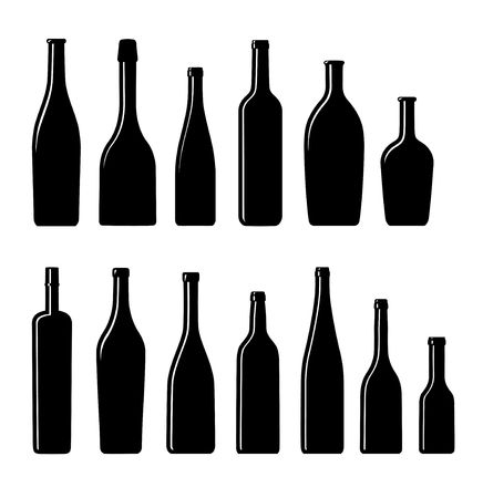glass with red wine: collection of Silhouette  bottles Illustration
