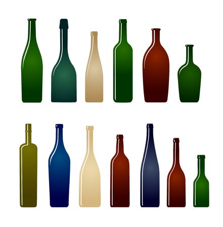 red wine bottle: conjunto de botellas de vidrio Vectores