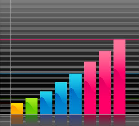 business graph on black background