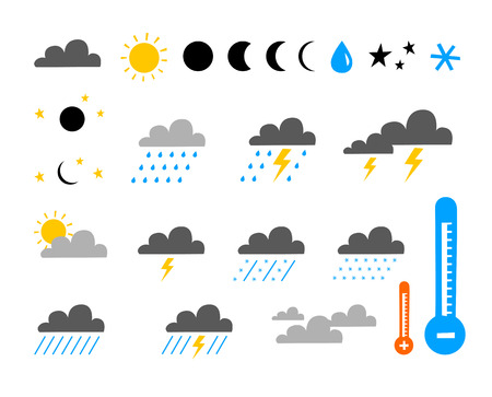partly sunny: icon set of weather and climate