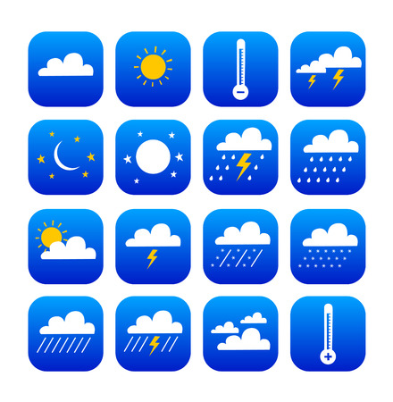 button set of weather and climate Vector