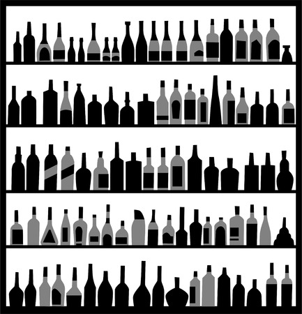 the bartender: alcohol bottles on the wall