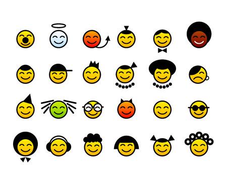 rey caricatura: conjunto de cara feliz emoticonos