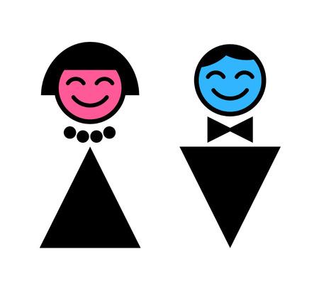 simbolo uomo donna: Uomo e donna. WC Sign. WC  Vettoriali