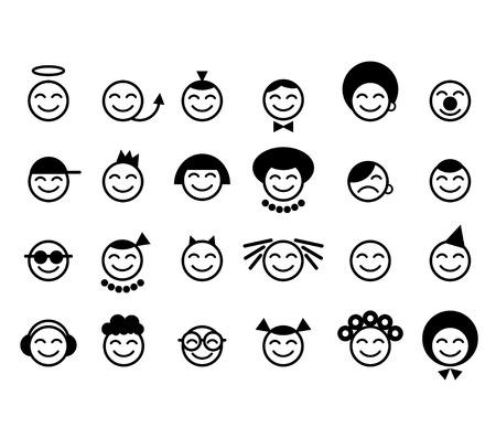 rey caricatura: cara feliz emoticonos  Vectores