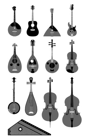 contrabass:  set of musical instruments  Illustration