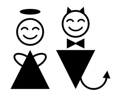 angel and devil symbol Illustration