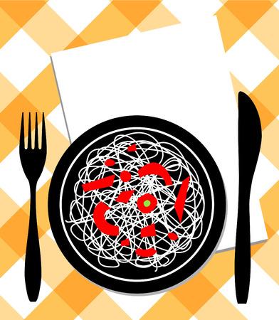 spaghetti on plate Vector