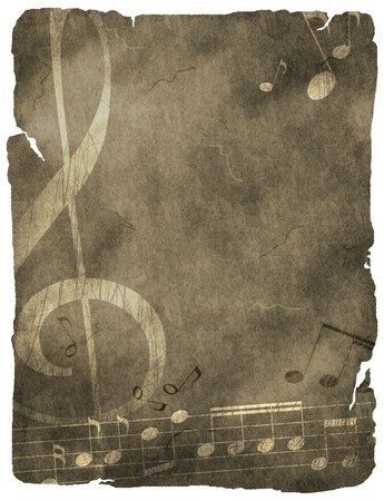musical background on old paper Stock Photo - 8144811