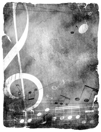 clave de sol: fondo musical de grunge  Foto de archivo