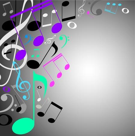 simbolos musicales: musical fondo de color. Notas  Foto de archivo
