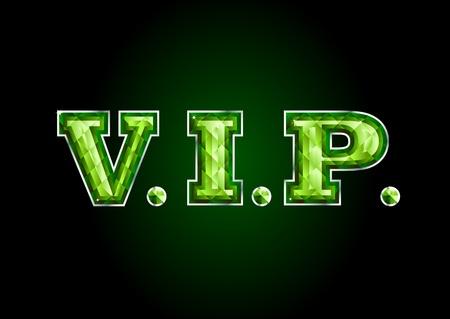 VIP. emerald letter Stock Vector - 9259601