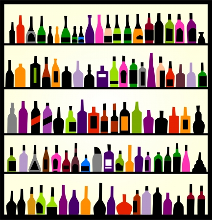 alcoholist: alcohol flessen op de muur