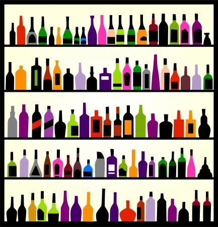 alcoholismo: botellas de alcohol en la pared