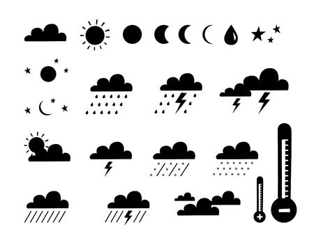 partly sunny: weather and climate Illustration