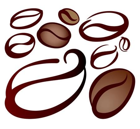chicchi di caff�: chicchi di caff� su bianco Vettoriali