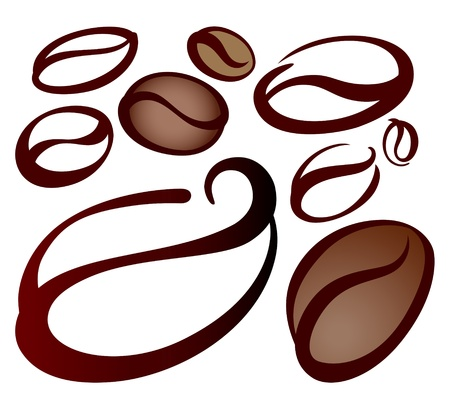 granos de cafe: granos de caf� sobre fondo blanco