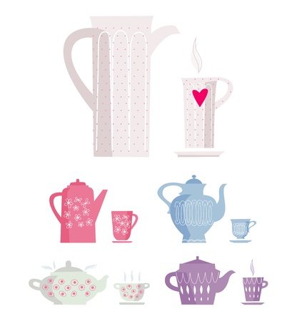 tea party: color cup and kettle