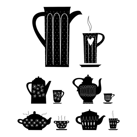 silhouette of cup and kettle Vector