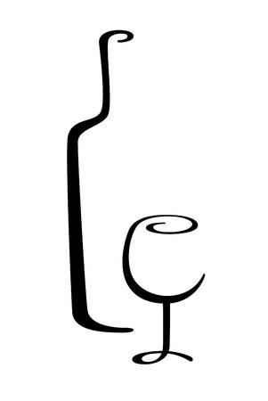 alcoholist: wijn fles en glas