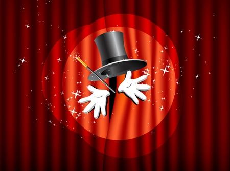 la presentación con la varita mágica arriba magia sombrero y la mano Ilustración de vector