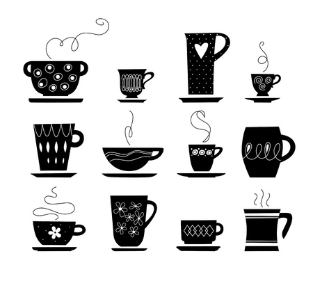 cups silhouette: black and white of tea cup Illustration