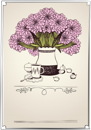 good morning: bouquet of chrysanthemum  eps10