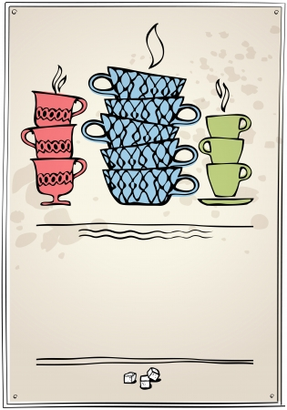 tea party: cup of tea or coffee  Retro style  eps10 Illustration