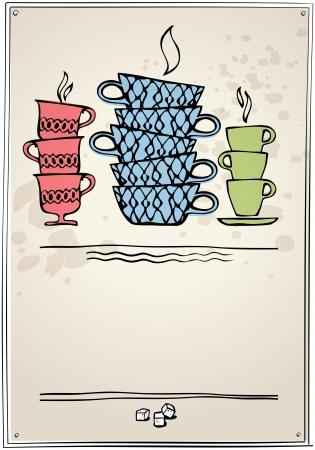 tearoom: cup of tea or coffee  Retro style  eps10 Illustration